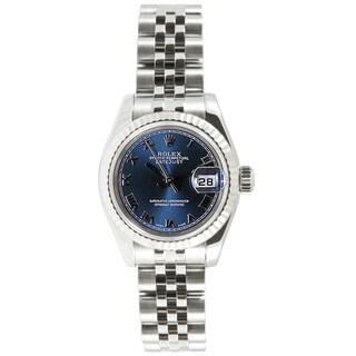 Pre-owned Rolex Women's Datejust Stainless Steel Jubilee Blue Roman Dial Watch