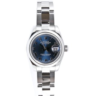 Pre-owned Rolex Women's Datejust Stainless Steel Oyster Blue Roman Dial Watch