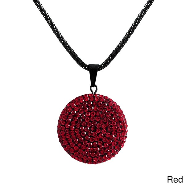 Luxiro Stainless Steel Colored Crystals Circle Disk Black Mesh Chain Necklace. Opens flyout.