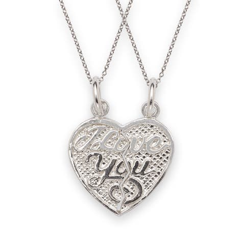 Sterling Silver I Love You 2-piece Break Apart Heart Charm with Chain