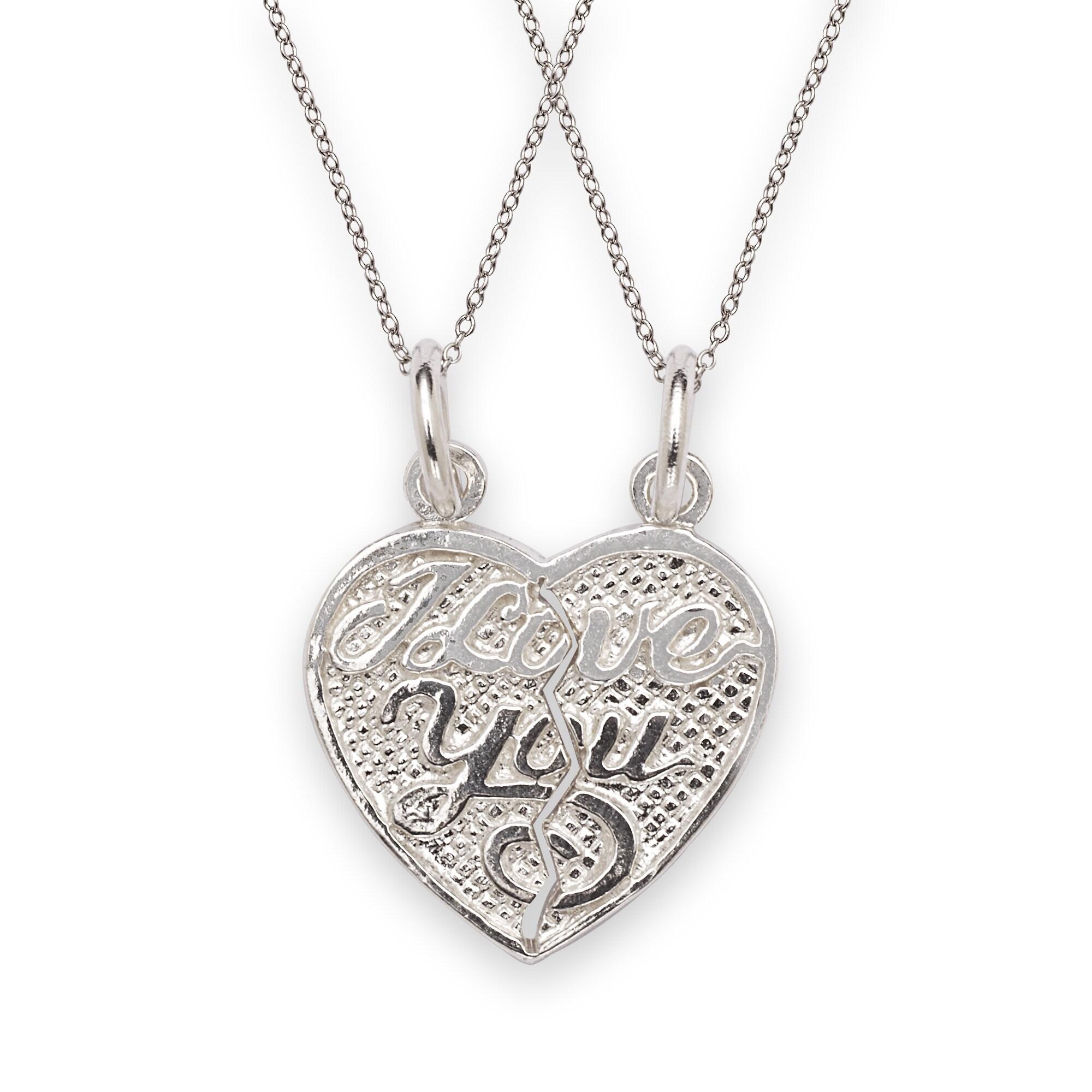 Sterling Silver I Love You 2-piece Break Apart Heart Char...