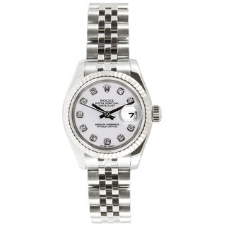 Pre-owned Rolex Women's Datejust Stainless Steel White Diamond Dial Watch