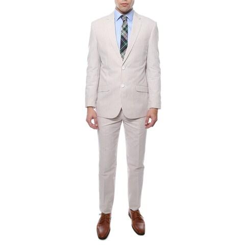 Ferrecci Zonettie 2-piece 2-button Seersucker Cotton Slim Fit Summer Suit