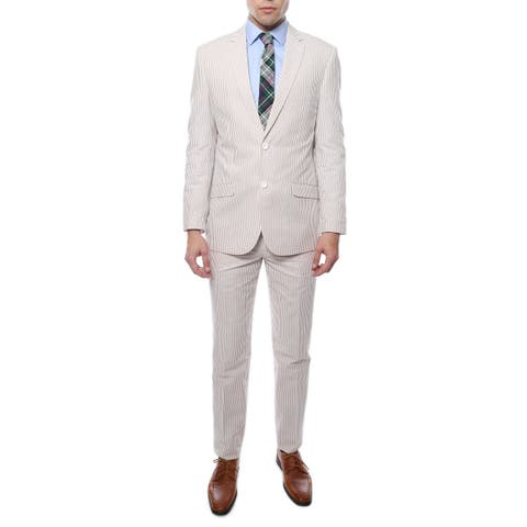 Ferrecci Zonettie 2-piece 2-button Seersucker Cotton Slim Fit Summer Suit