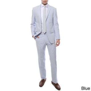 Zonettie by Ferrecci 2-piece 2-button Seersucker Cotton Slim Fit Summer Suit (More options available)