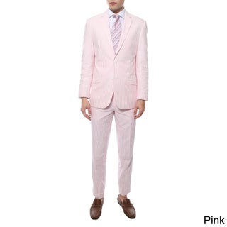 Ferrecci Zonettie 2-piece 2-button Seersucker Cotton Slim Fit Summer Suit (Option: Pink - 38L/ W32)