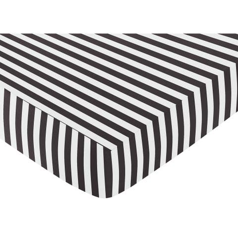 Sweet Jojo Designs Black and White Stripe Fitted Crib Sheet