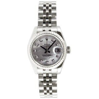 Pre-owned Rolex Women's Datejust Stainless Steel Jubilee Mother Of Pearl Diamond Dial Watch