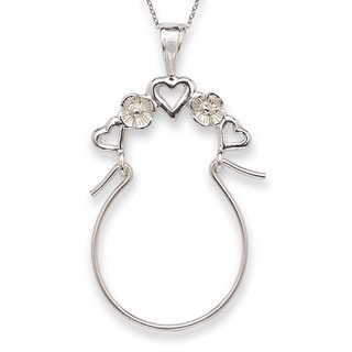Sterling Silver Heart Charm Holder with Chain