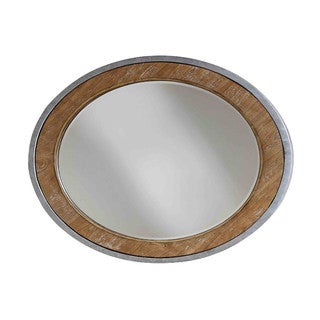'Palos Heights' Silva Plata Metal and Ash Veneer Mirror