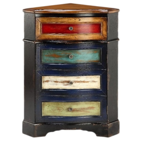 Marvelous Multicolored One Drawer Corner Chest