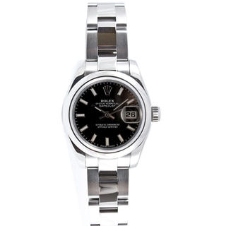 Pre-owned Rolex Women's Datejust Stainless Steel Oyster Black Stick Dial Watch