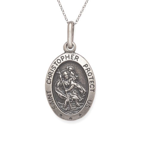 Sterling Silver Oval Antiqued St. Christopher Medal with Chain