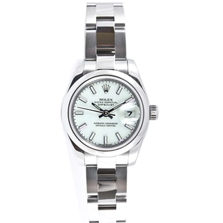 Pre-owned Rolex Women's Datejust Stainless Steel Oyster White Stick Dial Watch
