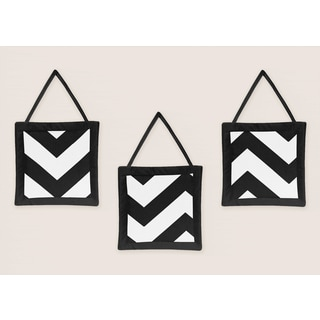 Sweet Jojo Designs Black Chevron Wall Hangings (3 Pack)