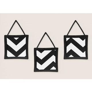 Sweet Jojo Designs Black Chevron Wall Hangings (3 Pack)