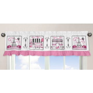 Sweet Jojo Designs Pink, Black and White 54-inch x 15-inch Window Treatment Curtain Valance for Paris Collec