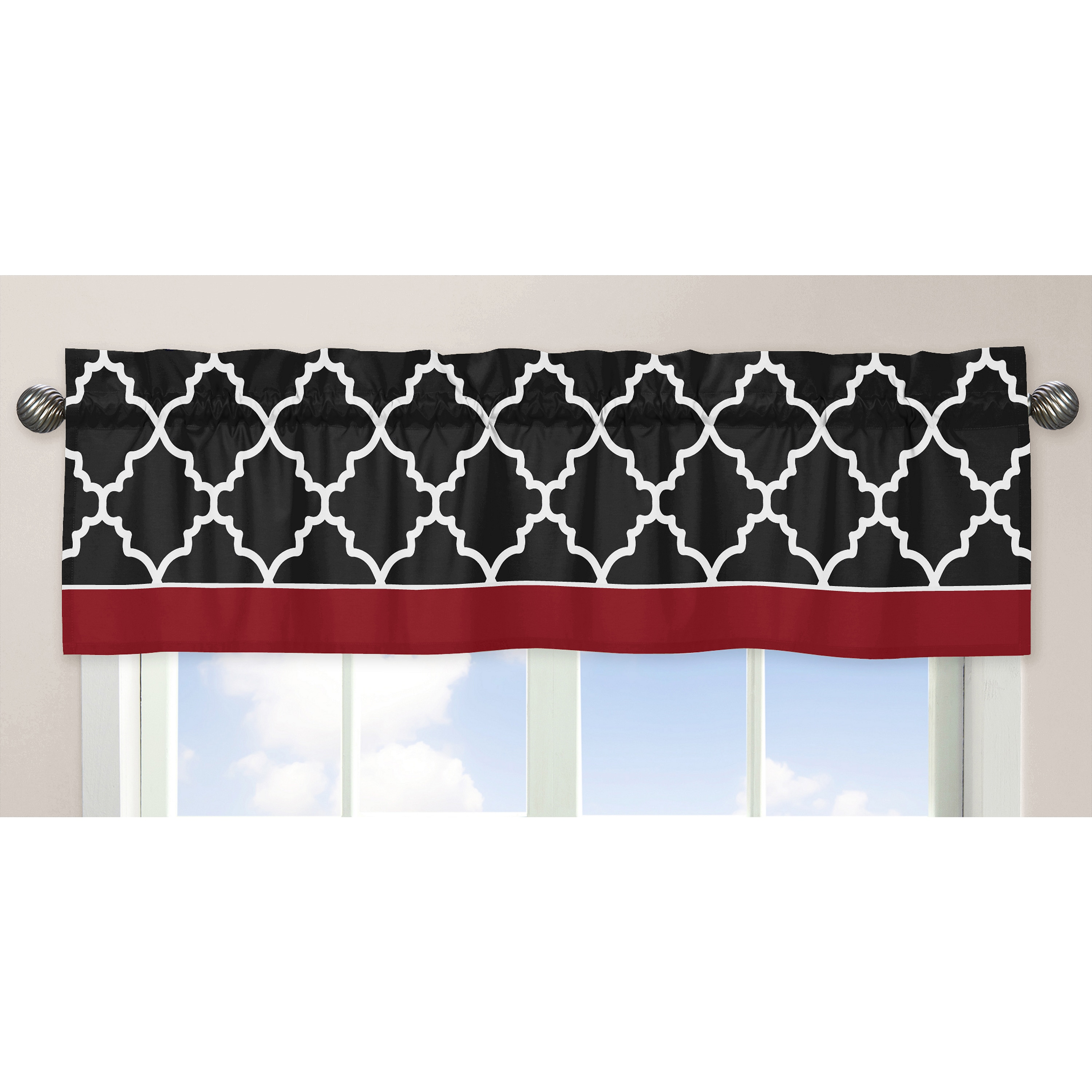Sweet Jojo Designs Red Black And White 54 Inch X 15 Inch Window Treatment Curtain Valance For Red And Black Overstock 9270600