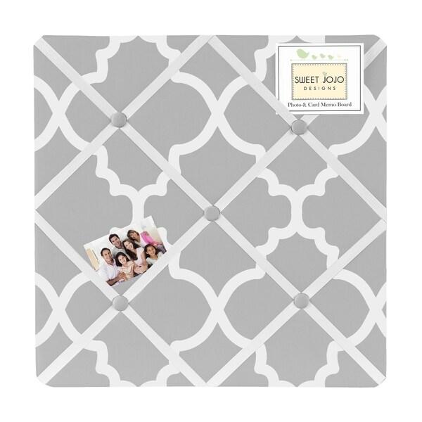 Sweet Jojo Designs Grey Trellis Lattice Fabric Bulletin Board