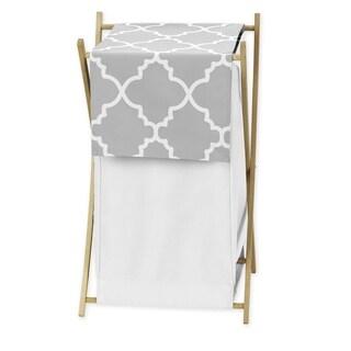 Sweet Jojo Designs Grey and White Lattice Laundry Hamper