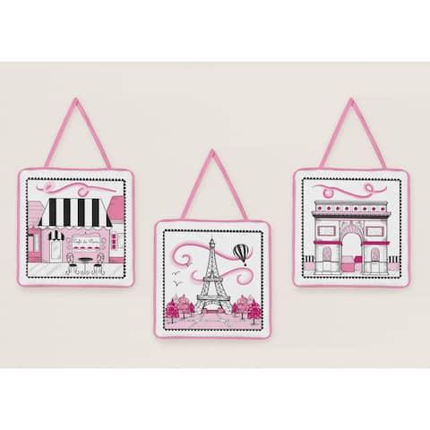 Sweet Jojo Designs Girls Pink Paris Eiffel Tower Wall Hangings (Set of 3)