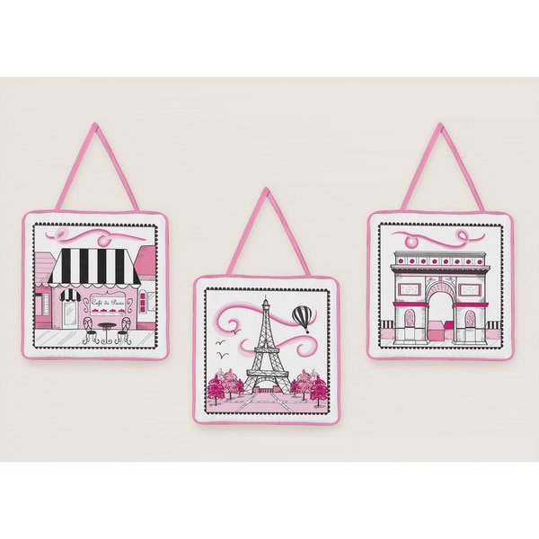 Sweet Jojo Designs Girls Pink Paris Eiffel Tower Wall Hangings (Set of 3)