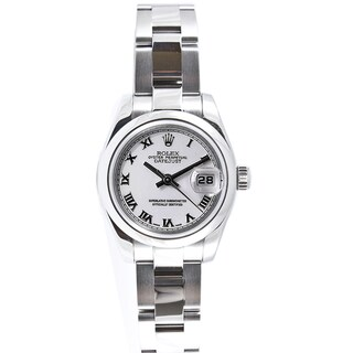 Pre-owned Rolex Women's Datejust Stainless Steel Oyster White Roman Dial Watch