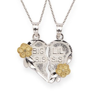 Sterling Silver Two-tone Big Sis Lil Sis 2-piece Break Apart Charm with Chains