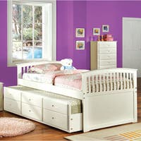 Furniture of America Annetta White Mission Style Captain Bed with Storage Trundle