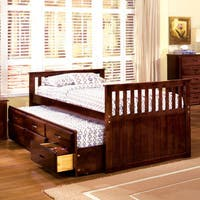 Furniture of America Benjamin Cherry Mission Style Captain Bed with Storage Trundle
