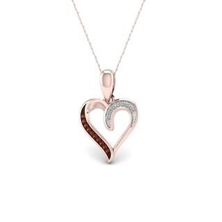 De Couer 10k Rose Gold Cognac and White Diamond Accent Heart Pendant (H-I, I2)