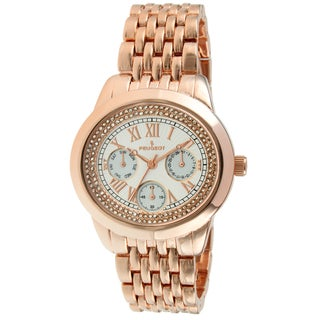 Peugeot Women's Crystal Rose Goldtone Multifunction Watch