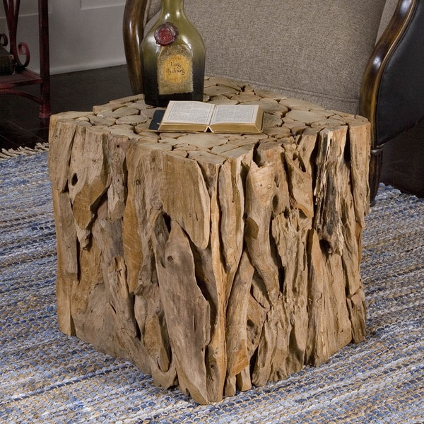 Shop Uttermost Teak Root Bunching Cube Free Shipping
