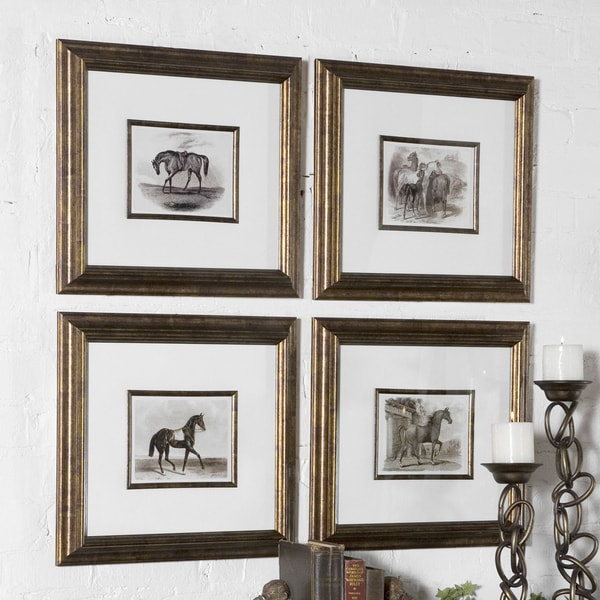 Uttermost Horses Canvas Art (Set of 4) - White