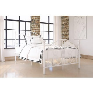 DHP Bombay White Metal Finial Detailing Twin Bed