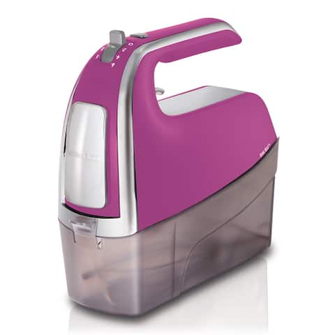 Hamilton Beach 6 Speed Hand Mixer with Snap-On Case Raspberry