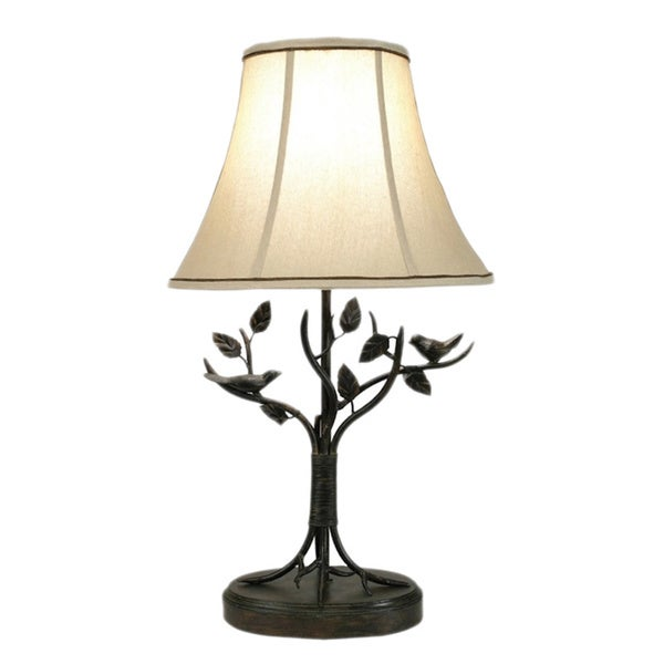 Pine Canopy Delta Bronze Bird and Leaf 1-light Table Lamp