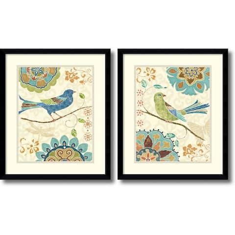 Framed Art Print 'Eastern Tales Birds - set of 2' by Daphne Brissonnet 16 x 19-inch Each