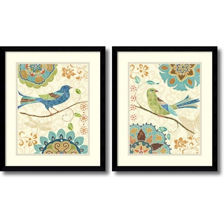 Framed Art Print 'Eastern Tales Birds  - set of 2' by Daphne Brissonnet 16 x 19-inch Each