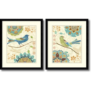 Daphne Brissonnet 'Eastern Tales Birds- set of 2' Framed Art Print 16 x 19-inch Each