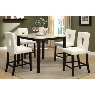 Savona 5-piece Cream/ Rich Brown Counter-height Dining Set