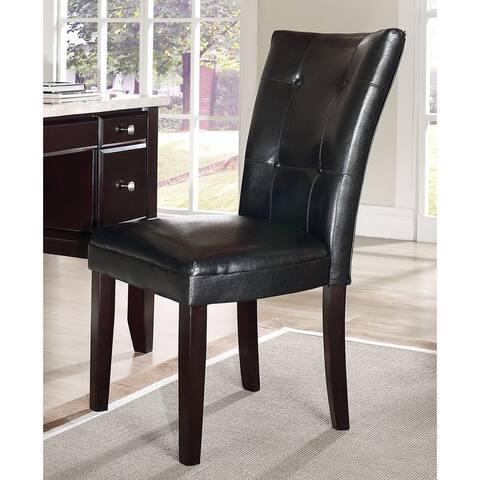 Malone Black Vinyl Parsons Chair by Greyson Living