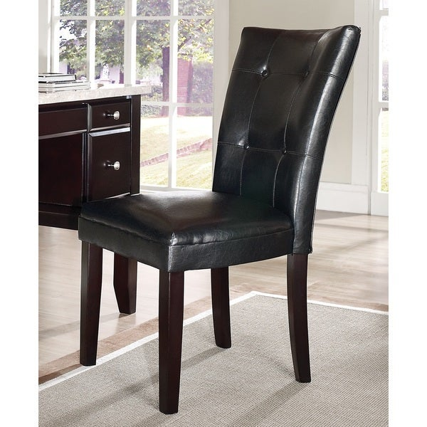 Malone Black Vinyl Parsons Chair By Greyson Living