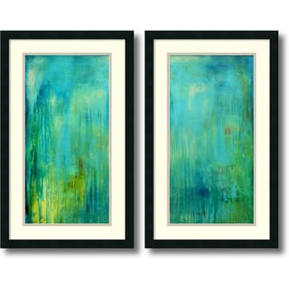 Erin Ashley 'Blue Mountain Rain- set of 2' Framed Art Print 19 x 31-inch Each