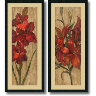 Silvia Vassileva 'Vivid Red Gladiola and Lily on Gold- set of 2' Framed Art Print 18 x 42-inch Each