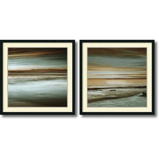John Seba 'Lowtide/Hightide- set of 2' Framed Art Print 34 x 34-inch Each