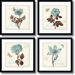 Katie Pertiet 'Touch of Blue, black frame- set of 4' Framed Art Print 17 x 17-inch Each