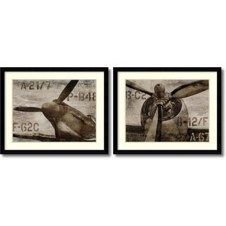 Dylan Matthews 'Vintage Airplane- set of 2' Framed Art Print 41 x 33-inch Each