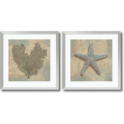 Framed Art Print 'Aqua Fan Coral & Starfish -set of 2' 27x27-inch Each