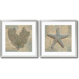 Caroline Kelly 'Aqua Fan Coral & Starfish- set of 2' Framed Art Print 27 x 27-inch Each
